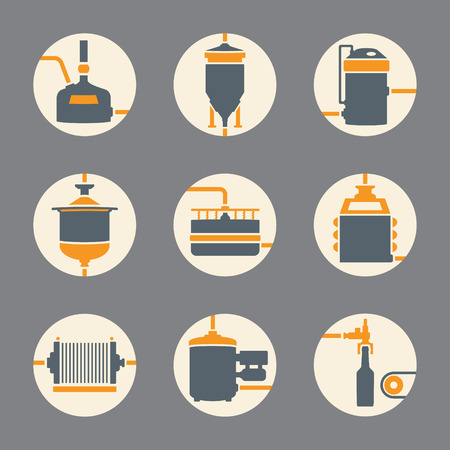 bottling: Set of beer production icon, brewery process infographic flat style. Production beer, brewery elements. Vector illustration Illustration