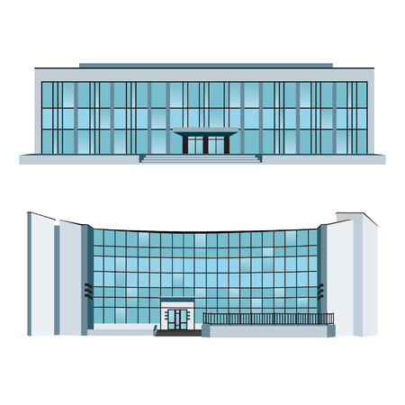 shopping center interior: Set of two modern buildings for web design and infographics. Vector illustration