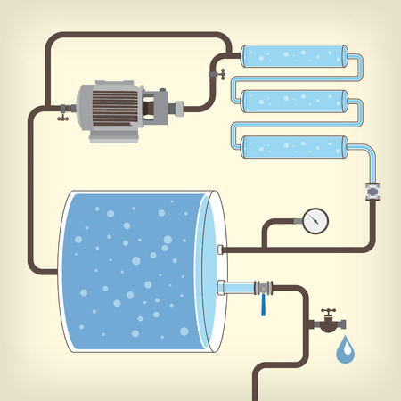 siphon: Infographics scheme with liquid, water tank, motor and pipes. Vector illustration Illustration