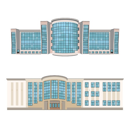 shopping center interior: Set of two vector illustration of buildings for web design and infographics Illustration