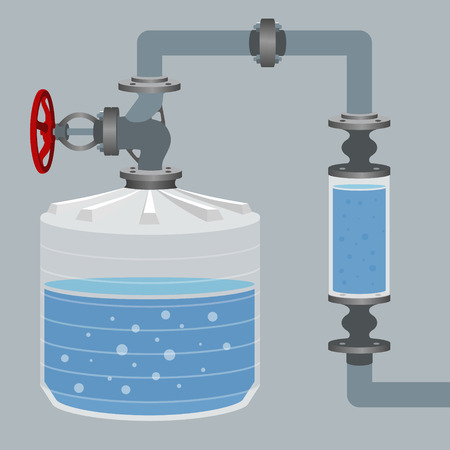 siphon: Infographics scheme with liquid, water tank and pipes. Vector illustration Illustration