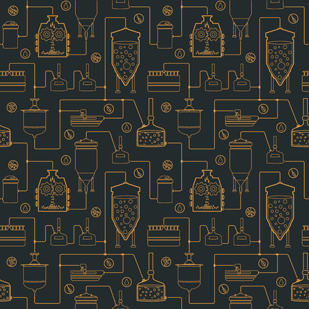 pressure bottle: Seamless background with beer brewing process, production beer, brewery factory production elements, traditional beer crafting. Vector repeating texture