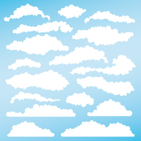 fluffy clouds: Set of fluffy clouds for design and layouts. Vector illustration Illustration