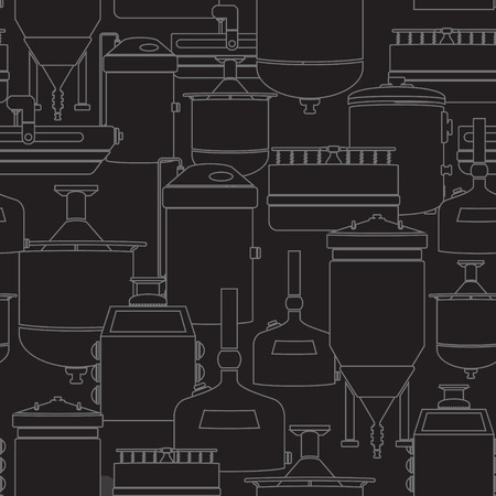 wort: Seamless background with beer brewing process, production beer, brewery factory production elements, traditional beer crafting. Vector repeating texture