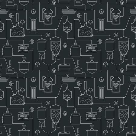 Seamless avec le processus de brassage de bière, la bière de production, des éléments de production de l'usine de la brasserie, l'artisanat de la bière traditionnelle. Vector répéter texture Banque d'images - 53695648