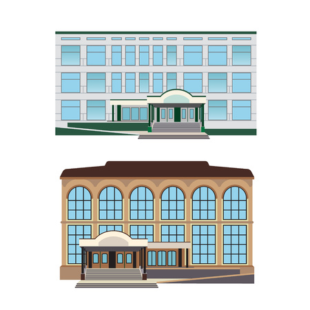 shopping center interior: Set - two vector illustration of modern buildings for web design and infographics Illustration
