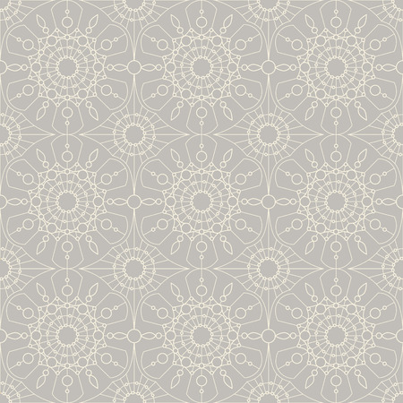the womanly: Beige vintage lace on grey background, seamless abstract ornament for your design. Vector illustration
