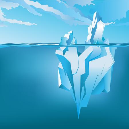 Hintergrund mit Eisberg unter und über Wasser. Vektor Vektorgrafik