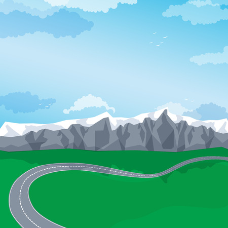 mountain road: Winding road through a mountain landscape. Vector illustration