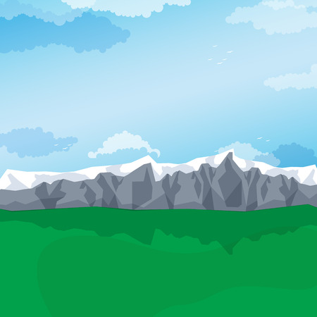 pastures: Mountain valley with green pastures, mountain landscape. Vector illustration Illustration