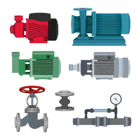 siphon: Set - water motor, pump and valves for pipeline. Vector illustration Illustration