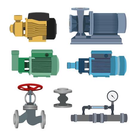 Set - water motor, pump and valves for pipeline. Vector illustration Illustration