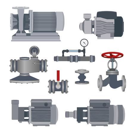 Set- water motor, pump and valves for pipeline. Vector illustration