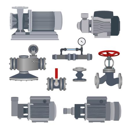 bomba de agua: Ajuste de agua del motor, bomba y válvulas para tubería. ilustración vectorial