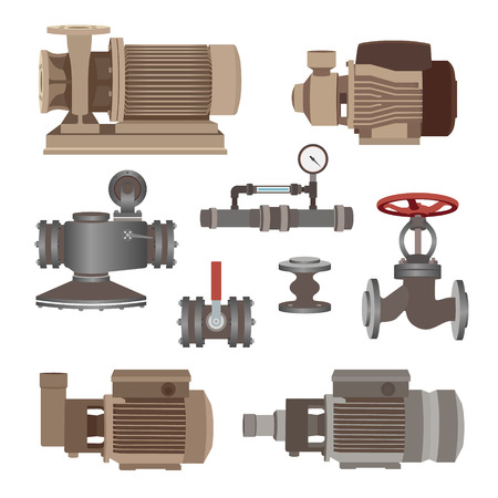 siphon: Set - water motor, pump and valves for pipeline. Vector illustration Illustration