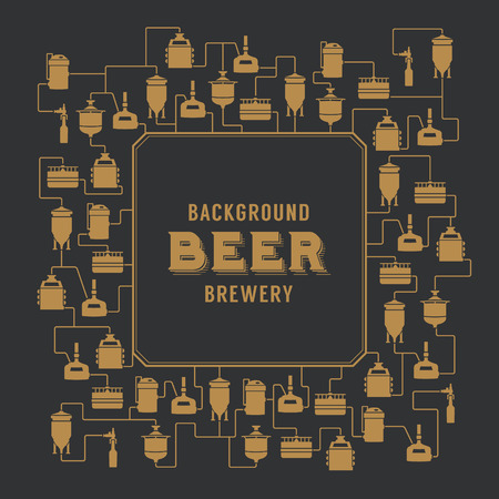wort: Card template with label on background with beer brewery elements, icons, logos, design elements. Brewing process, brewery factory production elements, traditional beer crafting. Vector