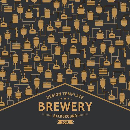 ビール醸造所の要素、アイコン、ロゴ、デザイン要素の背景の上にラベルのカード テンプレートです。醸造過程、醸造工場生産要素、伝統的なビー  イラスト・ベクター素材