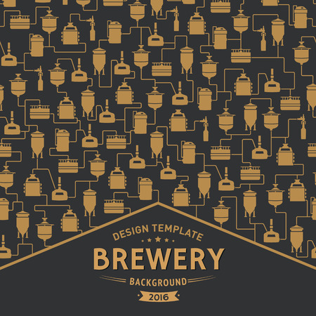 brewing: Card template with label on background with beer brewery elements, icons, logos, design elements. Brewing process, brewery factory production elements, traditional beer crafting. Vector
