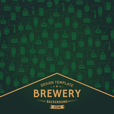 bottling: Green card template with label on background with beer brewery elements, icons, logos, design elements. Vector