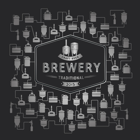 bottling: Card template with label on background with beer brewery elements, icons, logos, design elements. Vector