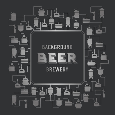 distillery: Card template with label on background with beer brewery elements, icons, logos, design elements. Vector