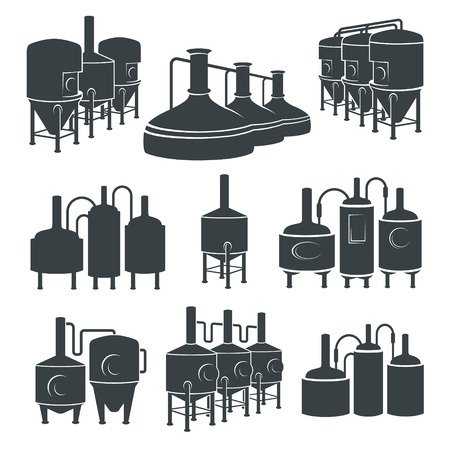 brewing: Set with beer brewery elements, icons, logos, design elements. Brewing process, production beer, brewery factory production elements, traditional beer crafting. Vector