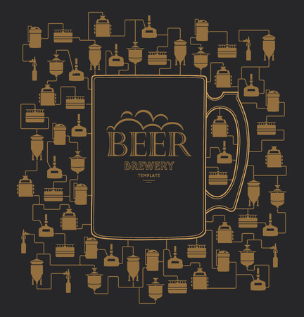 bottling: Card template - mug with label on background with beer brewery elements, icons, logos, design elements. Brewing process, brewery factory production elements, traditional beer crafting. Vector Illustration