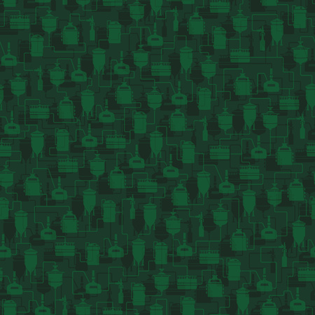 bottling: Green seamless background with beer brewing process, production beer, brewery factory production elements, traditional beer crafting. Vector repeating texture