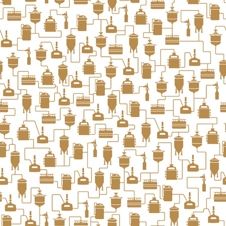 bottling: Seamless background with beer brewing process, production beer, brewery factory production elements, traditional beer crafting. Vector repeating texture
