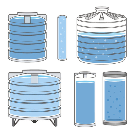 Industrielle Wassertanks voll eingestellt. Vektor-Illustration