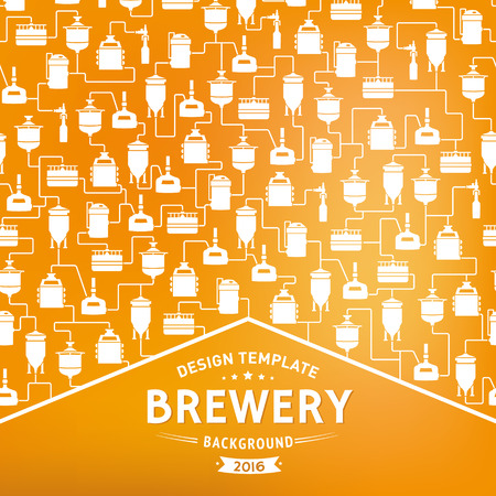 bottling: Card template with label on background with beer brewery elements, icons, logos, design elements. Brewing process, brewery factory production elements, traditional beer crafting. Vector
