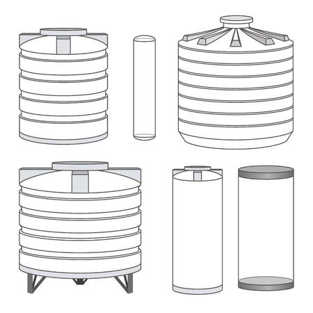 Industrial empty water tanks set. Vector illustration