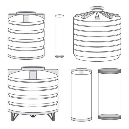 Industrial empty water tanks set. Vector illustration