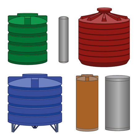 water tanks: Industrial water tanks set, different color. Vector illustration