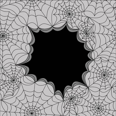 spider's web: Card template with spiders web, seamless. Halloween vector pattern Illustration