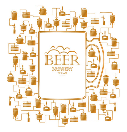 brewing: Card template - mug with gold label on background with golden beer brewery elements, icons, logos, design elements. Brewing process, brewery production elements, traditional beer crafting. Vector