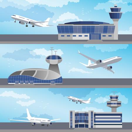 コントロール タワー ans 飛行機と空港の建物を設定します。フラットなデザイン。