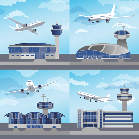 Airport building set with control towers ans planes. Flat design.