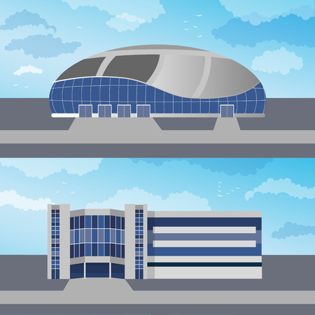 Set of two modern buildings for web design and infographics.