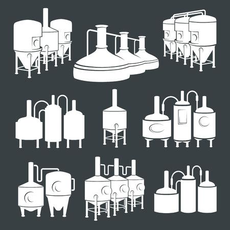 ビール醸造所の要素、アイコン、デザインの要素を設定します。醸造プロセス、生産ビール、ビール生産要素、伝統的なビールを作り上げます。  イラスト・ベクター素材
