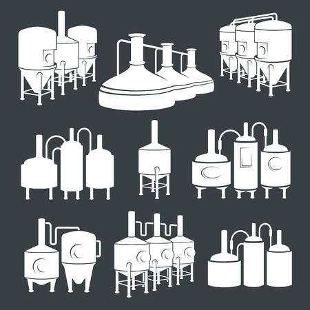 brewing: Set with beer brewery elements, icons, design elements. Brewing process, production beer, beer production elements, traditional beer crafting. Illustration