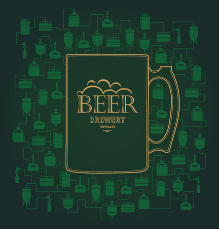 bottling: Card template - green mug with label on background with beer brewery elements, icons. Brewing process, brewery elements, traditional beer crafting.