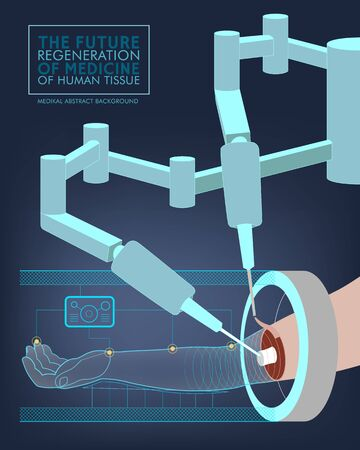 restoration: Medical abstract background with an illustration of the operation of the robot-surgeon on hand. Regeneration and restoration of human tissues and body parts. Model of a human hand. Illustration