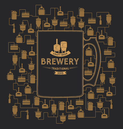 wort: Card template with label on background with beer brewery elements, icons, design elements. Brewing process, brewery factory production elements, traditional beer crafting.
