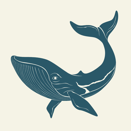 deepsea: Silhouette of whale. Illustration