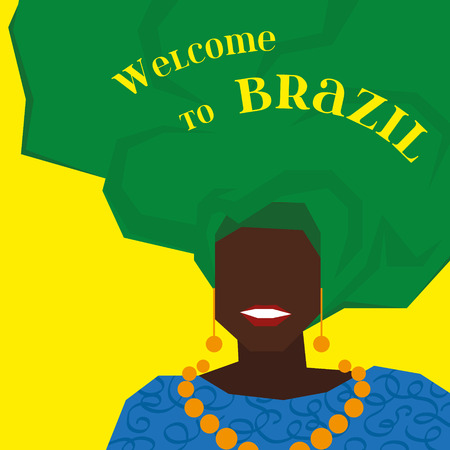 mujer de negro de Brasil en un turbante verde. Bienvenido a Brazil. Fondo para su diseño.