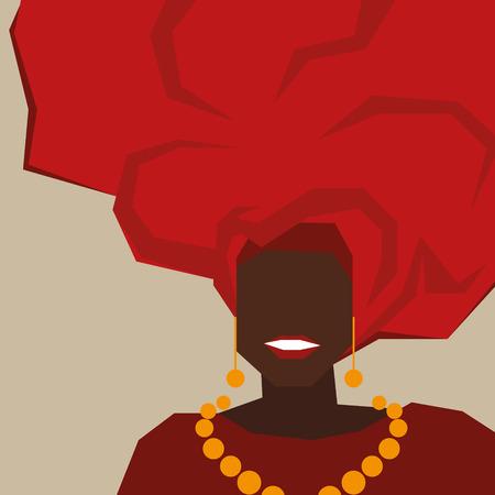 cafe colombiano: mujer de negro de Brasil en un turbante rojo. Fondo para su diseño. Vectores