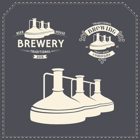 brewing: Set with beer brewery elements, icons, logos, design elements. Brewing process, production beer, beer production elements, traditional beer crafting. Vector