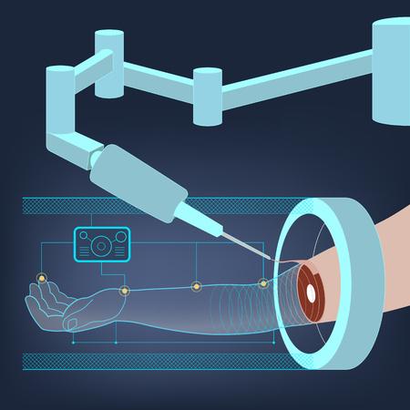 Medycyna abstrakcyjne tło z ilustracji działania robota-chirurga na dłoni. Regeneracja i odbudowa tkanek ludzkich i części ciała. Model ludzkiej dłoni. Wektor