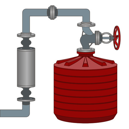 Info graphics scheme with liquid, water tank and pipes.
